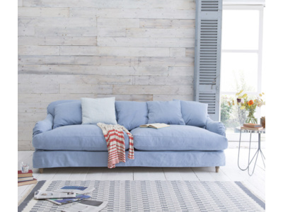Achilles sofa in China Blue brushed cotton with removable covers