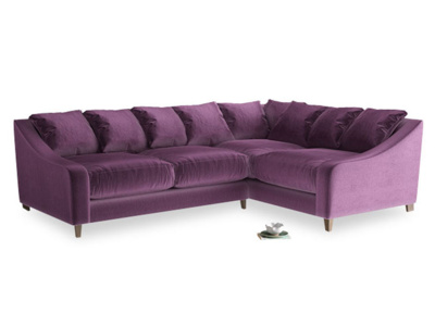Large Right Hand Oscar Corner Sofa  in Grape clever velvet