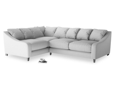 Large Left Hand Oscar Corner Sofa  in Flint brushed cotton