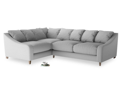 Large Left Hand Oscar Corner Sofa  in Magnesium washed cotton linen