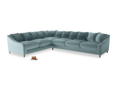 Xl Left Hand Oscar Corner Sofa  in Lagoon clever velvet