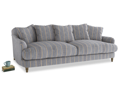 Large Achilles Sofa in Brittany Blue french stripe