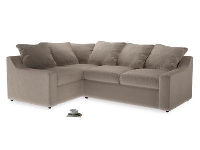 Large Left Hand Cloud Corner Sofa in Fawn clever velvet