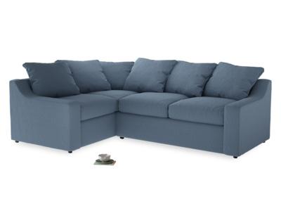 Large Left Hand Cloud Corner Sofa in Nordic blue brushed cotton