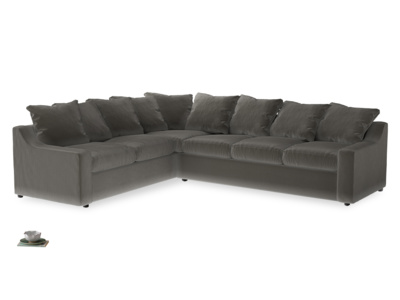 Xl Left Hand Cloud Corner Sofa in Slate clever velvet