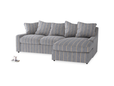 Large right hand Cloud Chaise Sofa in Brittany Blue french stripe