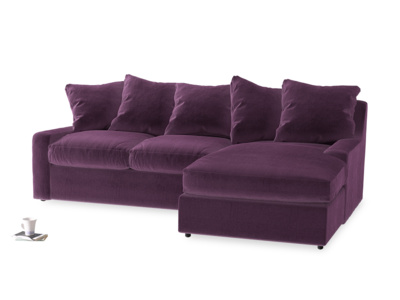 Large right hand Cloud Chaise Sofa in Grape clever velvet