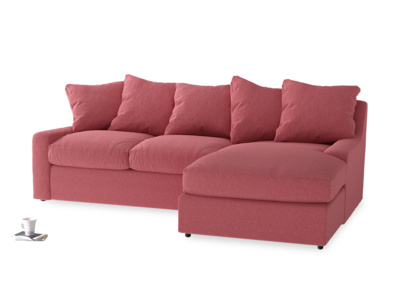 Large right hand Cloud Chaise Sofa in Raspberry brushed cotton