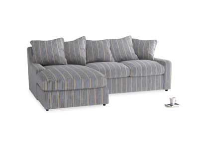 Large left hand Cloud Chaise Sofa in Brittany Blue french stripe