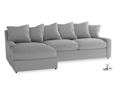XL Left Hand  Cloud Chaise Sofa in Magnesium washed cotton linen