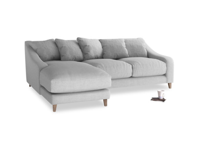 Large left hand Oscar Chaise Sofa in Cobble house fabric