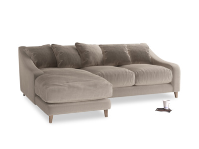 Large left hand Oscar Chaise Sofa in Fawn clever velvet