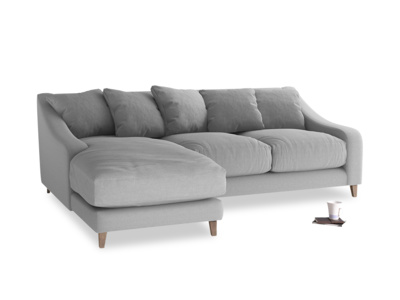Large left hand Oscar Chaise Sofa in Magnesium washed cotton linen