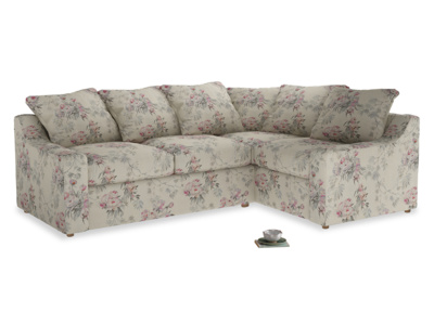 Large right hand Cloud Corner Sofa Bed in Pink vintage rose