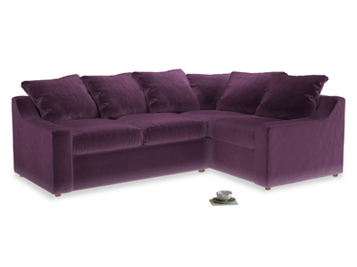 Large right hand Cloud Corner Sofa Bed in Grape clever velvet