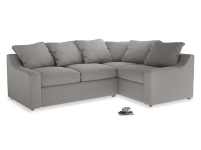 Large right hand Cloud Corner Sofa Bed in Wolf brushed cotton
