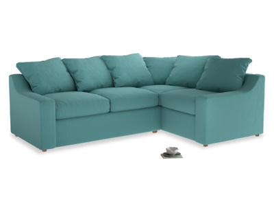 Large right hand Cloud Corner Sofa Bed in Peacock brushed cotton