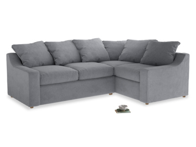 Large right hand Cloud Corner Sofa Bed in Dove grey wool