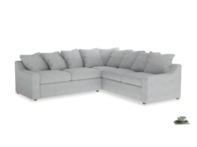 XL Right Hand Cloud Corner Sofa Bed in Pebble vintage linen