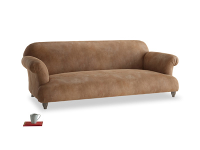 Large Soufflé Sofa in Walnut beaten leather