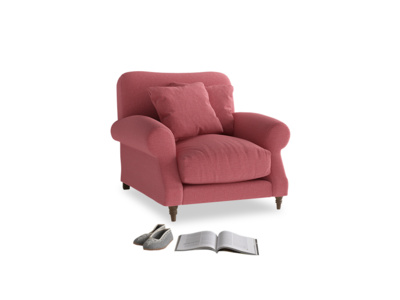Crumpet Armchair in Raspberry brushed cotton