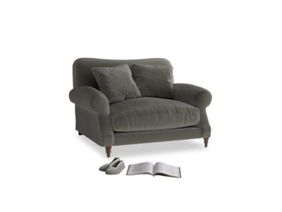 Crumpet Love seat in Slate clever velvet