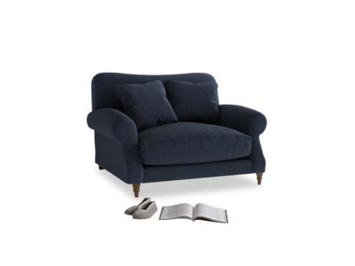 Crumpet Love seat in Indigo vintage linen