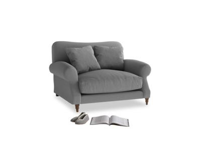Crumpet Love seat in Gun Metal brushed cotton