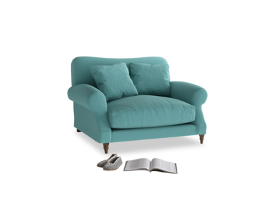 Crumpet Love seat in Peacock brushed cotton