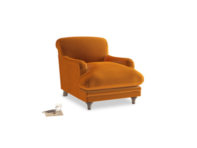 Pudding Armchair in Spiced Orange clever velvet