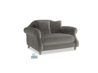 Sloucher Love seat in Slate clever velvet
