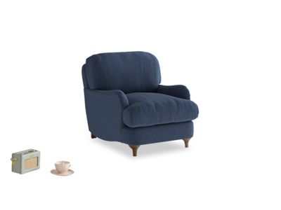 Jonesy Armchair in Navy blue brushed cotton