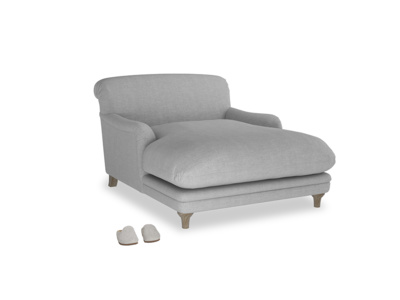 Pudding Love seat chaise in Cobble house fabric