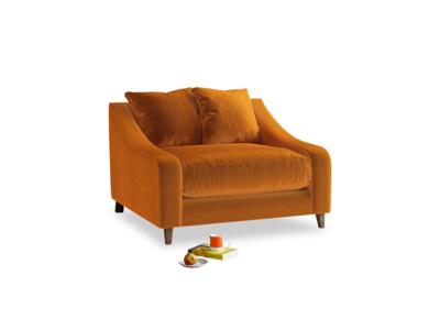 Oscar Love seat in Spiced Orange clever velvet
