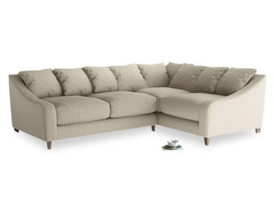 Large Right Hand Oscar Corner Sofa  in Jute vintage linen