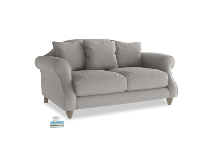 Small Sloucher Sofa in Wolf brushed cotton