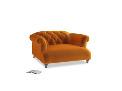 Dixie Love seat in Spiced Orange clever velvet