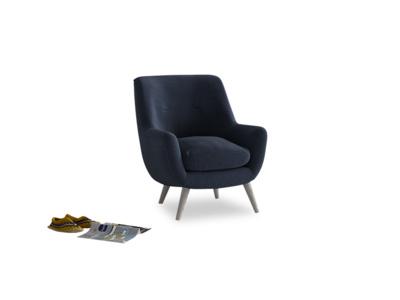Berlin Armchair in Indigo vintage linen