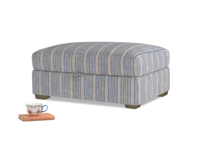 Bumper Storage Footstool in Brittany Blue french stripe