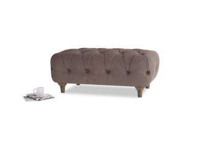 Rectangle Dimple Footstool in Dark Chocolate beaten leather