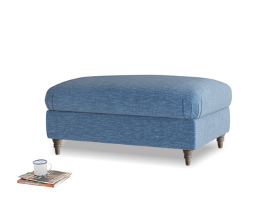 Rectangle Flatster Footstool in Hague Blue cotton mix