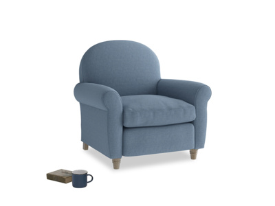 Club Armchair in Nordic blue brushed cotton