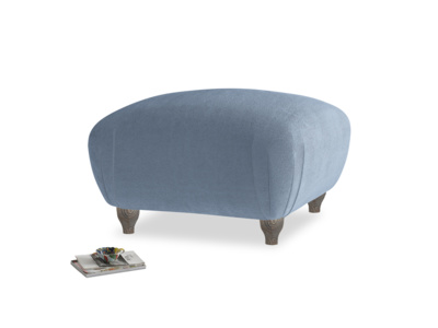 Small Square Homebody Footstool in Winter Sky clever velvet