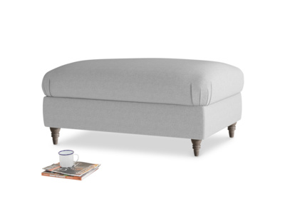 Rectangle Flatster Footstool in Magnesium washed cotton linen