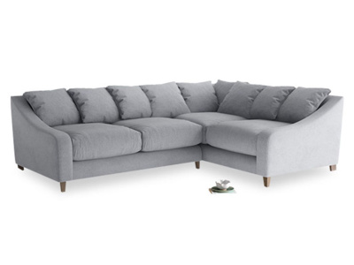 Large Right Hand Oscar Corner Sofa  in Dove grey wool
