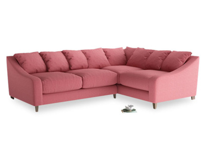 Large Right Hand Oscar Corner Sofa  in Raspberry brushed cotton