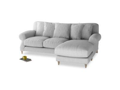 Large right hand Crumpet Chaise Sofa in Cobble house fabric