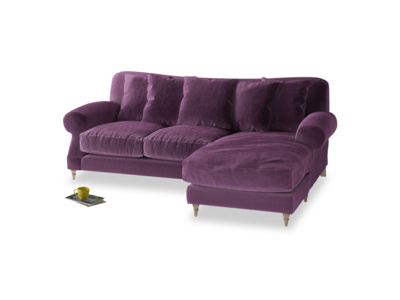 Large right hand Crumpet Chaise Sofa in Grape clever velvet