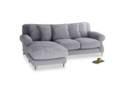 Large left hand Crumpet Chaise Sofa in Dove grey wool