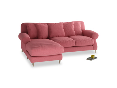 Large left hand Crumpet Chaise Sofa in Raspberry brushed cotton